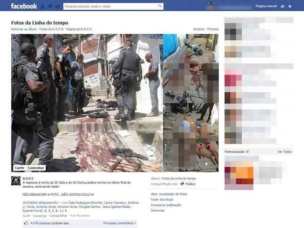Página não oficial do Bope mostra fotos de corpos jogados no chão no Morro do Juramento (Foto: Reprodução / Facebook)