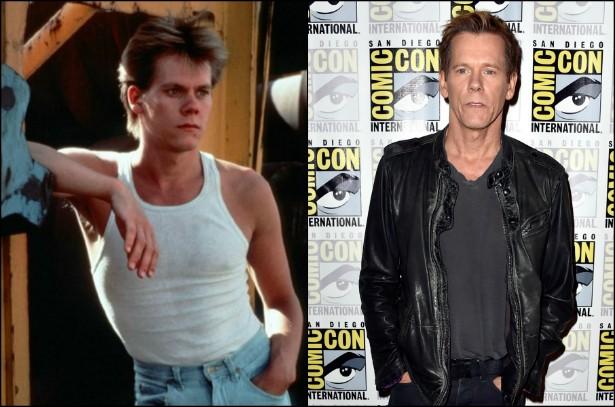 O filme que alçou Kevin Bacon ao estrelato foi 'Footloose — Ritmo Louco' (1984). Hoje, o ator tem 56 anos e seus trabalhos de destaque mais recentes foram 'X-Men: Primeira Classe' (2011) e a série 'The Following', no ar desde 2013. (Foto: Reprodução e Getty Images)