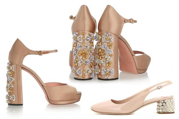 Foco nos pés: sapatos poderosos protagonizam os looks das festas de fim de ano. Acima, as versões da Rochas e Miu Miu (Foto: Divulgação)