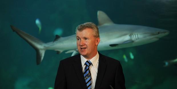 O ministro do Ambiente da Austrália, Tony Burke, anuncia o plano da rede de parques marinhos, no aquário de Sydney, nesta quinta-feira (14) (Foto: AFP)
