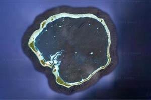 Imagem de satélite mostra o atol de Ebon, nas Ilhas Marshall (Foto: Reprodução/Google)