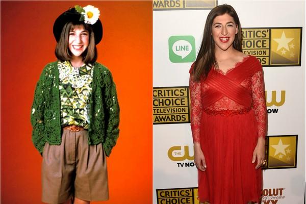 Hoje ela faz o papel de Amy Farrah Fowler em 'The Big Bang Theory', mas entre 1990 e 1995, Mayim Bialik era Blossom na série de TV de mesmo nome (Foto: Getty Images e Divulgação)