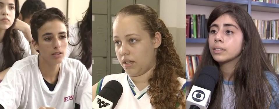 Rodrigo, Alanis e Ana Clara, vencedores da categoria Voto Popular do Câmera Educação (Foto: Reprodução/TV Tribuna)
