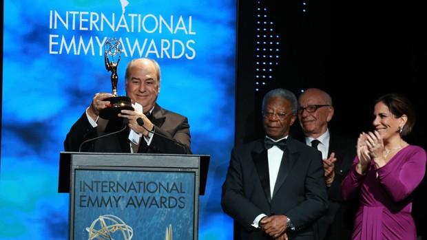 Roberto Irineu Marinho recebe prêmio Emmy de Personalidade da Televisão em Nova Iorque (Foto: Globo / Luiz C. Ribeiro)