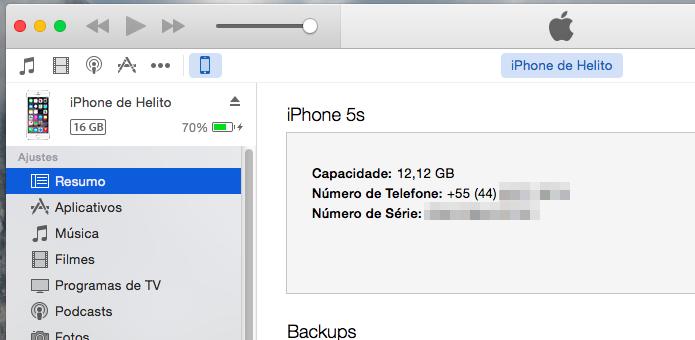 Abra o iTunes e aguarde até que o aparelho seja detectado (Foto: Reprodução/Helito Bijora)