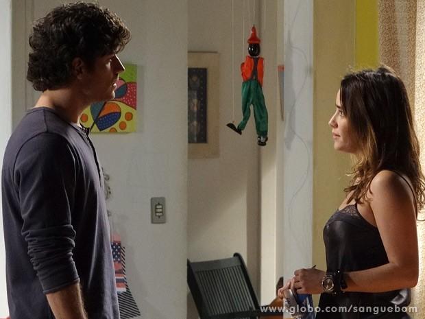 Bento não acredita no que ouve de Malu (Foto: Sangue Bom / TV Globo)