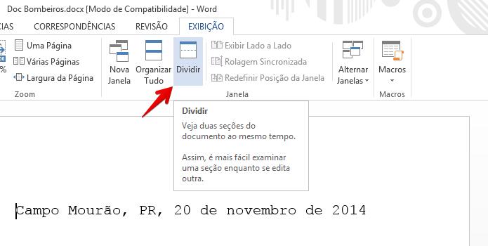 Ativando divisão de tela do Word 2013 (Foto: Reprodução/Helito Bijora)