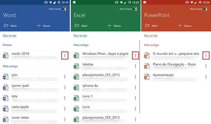 Word, Excel e PowerPoint para Android podem ter arquivos fixados na tela inicial (Foto: Reprodução/Elson de Souza)
