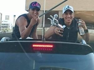 Danilo e Rafael durante recepção em Betim, cidade de Minas Gerais (Foto: Arquivo pessoal)