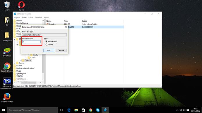 Windows 10 terá central de notificações desativada quando usuário mudar valor no registro (Foto: Reprodução/Elson de Souza)