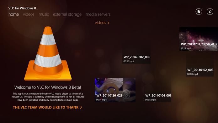 Tela inicial do VLC para Windows 8 traz arquivos reproduzidos recentemente no player (Foto: Reprodução/Elson de Souza)