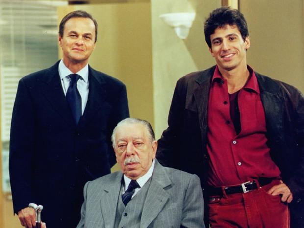 Kadu Moliterno, José Lewgoy e Leonardo Brício (Foto: CEDOC/TV Globo)