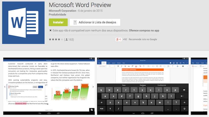 Word é um dos três apps do Office disponíveis para tablets Android (Reprodução/Google Play)