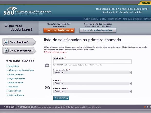 Para ter acesso à lista, é preciso clicar no botão 'lista de aprovados' (Foto: Reprodução)
