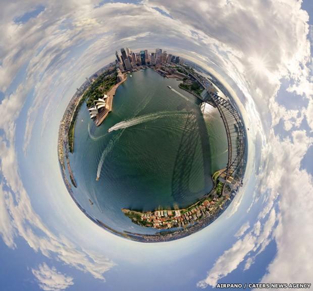Sydney e a Ópera da cidade, na Austrália (Foto: AirPano/Caters News)