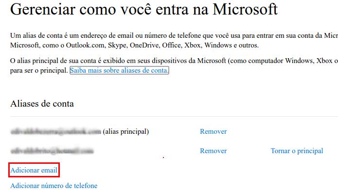 Acessando a opção Adicionar email (Foto: Reprodução/Edivaldo Brito)
