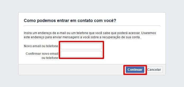 Informe um novo e-mail ou telefone (Foto: Reprodução/Paulo Alves)