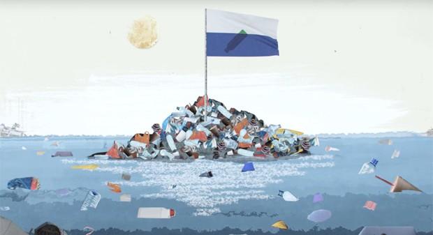 Ilha do Lixo já tem até sua própria bandeira (Foto: Reprodução/YouTube)
