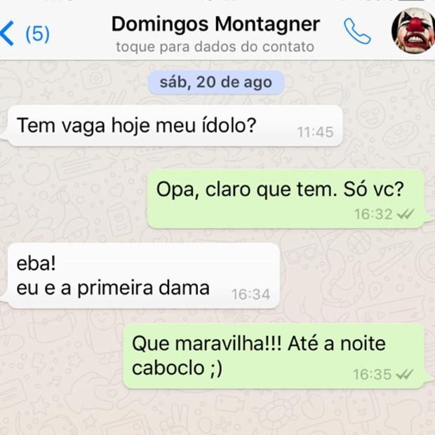 Última mensagem trocada entre Nero e Montagner (Foto: Instagram / Reprodução)