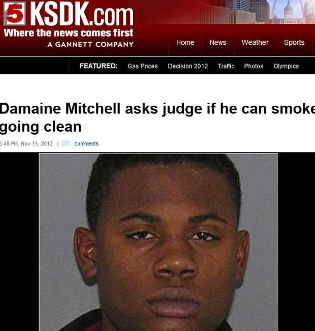 Damaine Mitchell pediu um 'baseado' para a juíza nos EUA (Foto: Reprodução)
