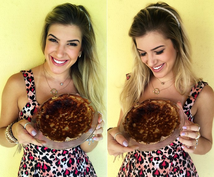 Lorena Improta mostra sua receita de panqueca sem lactose (Foto: Arquivo Pessoal)