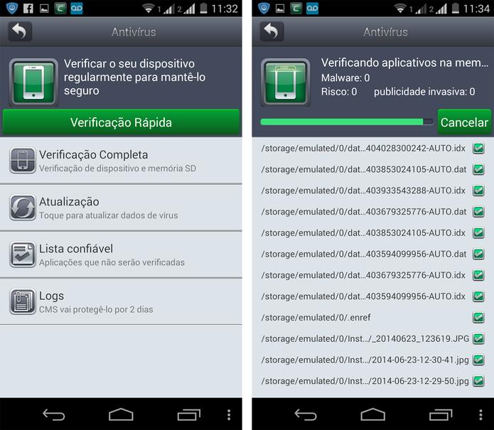 Antivírus do Comodo Mobile Security (Foto: Reprodução/ Marcela Vaz)