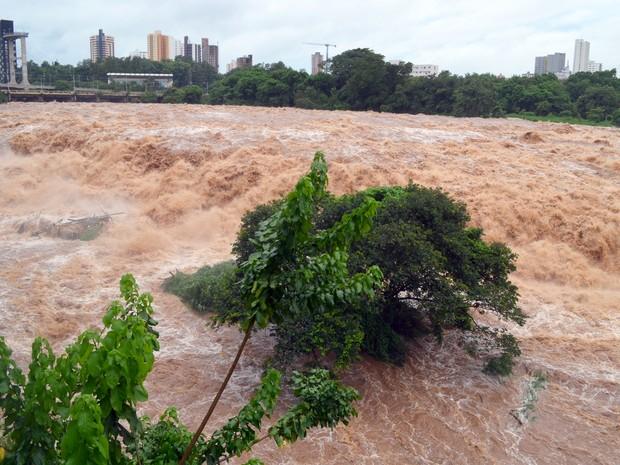 Rio Piracicaba registra maior vazão desde 2012 nesta quarta-feira (Foto: Claudia Assencio/G1)