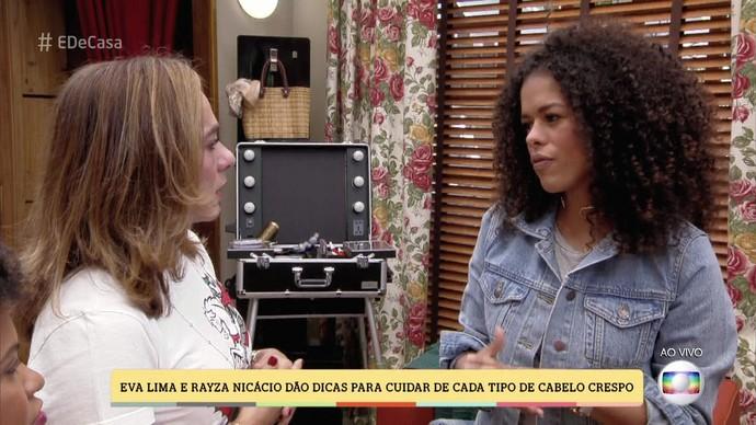 Rayza Nicácio também participou do bate-papo e contou como cuida de seus cabelos (Foto: TV Globo)