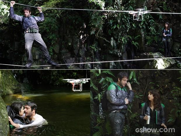 Veja o sufoco que os dois enfrentaram no desafio na ilha (Foto: Fábio Rocha/TV Globo)