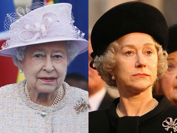 A rainha Elizabeth II no Palácio de Buckingham, no dia 9 de outubro de 2013, e Helen Mirren em 'A rainha' (Foto: AFP Photo/Lefteris Pitakaris/Divulgação)