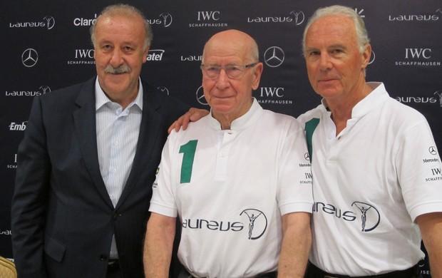 Vicente Del Bosque, Bobby Charlton e Franz Beckenbauer em coletiva do Laureus (Foto: Cahê Mota)