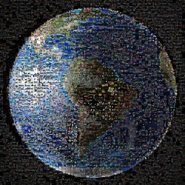 Mais de 1.400 imagens de internautas ao redor do mundo compõem foto da Terra (Foto: Nasa/JPL-Caltech/AFP)