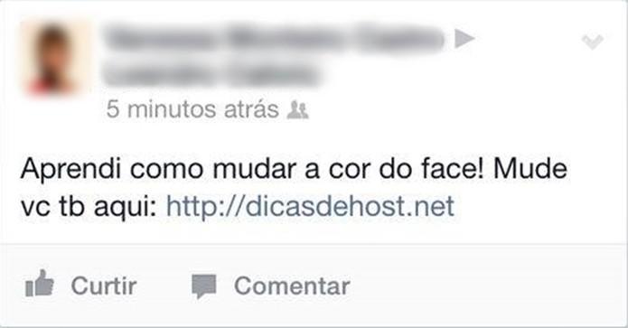 Spam no Facebook do vírus dicasdehost.net (Foto: Reprodução/Internet)