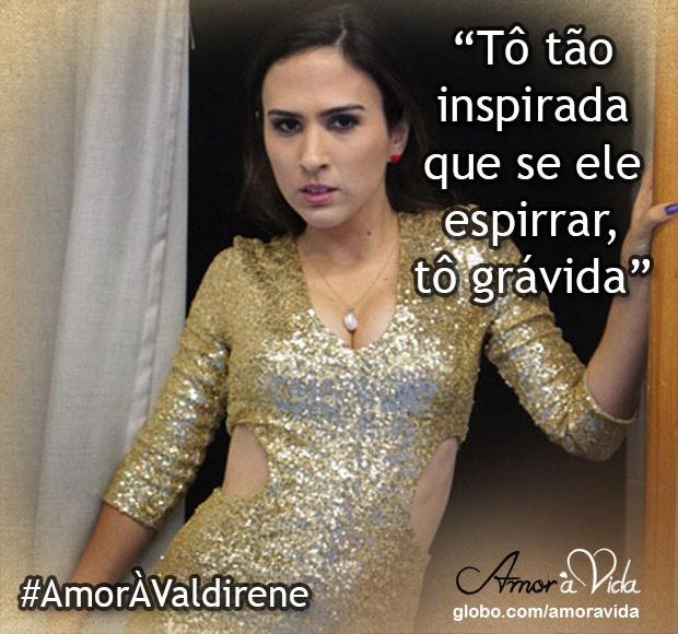 Valdirene inspirada (Foto: Amor à Vida / TV Globo)