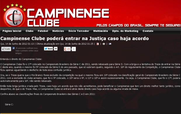 nota do campinense (Foto: Reprodução / Campinense Clube)