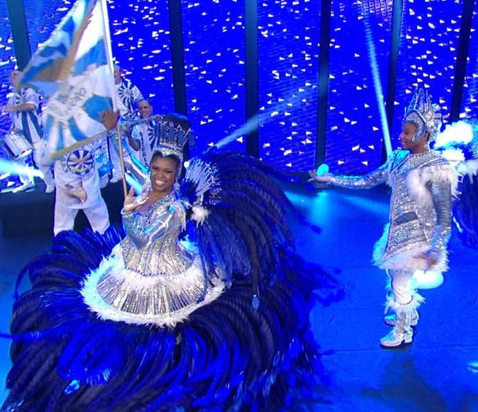 Águia de Ouro na gravação da vinheta de Carnaval 2016 (Foto: Divulgação TV Globo)