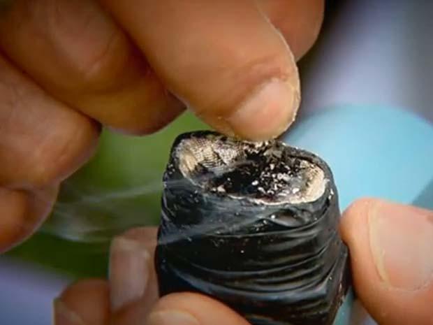 Crack sendo consumido por usuário em Campinas (Foto: Reprodução / EPTV)