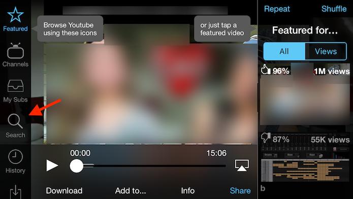Caminho para acessar a ferramenta de busca do Tube for YouTube para iPhone (Foto: Reprodução/Marvin Costa)