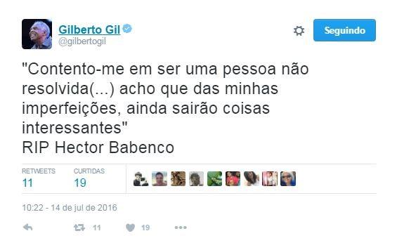 Gilberto Gil lamenta morte de Hector Babenco (Foto: Reprodução / Twitter)