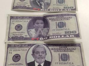 Sindicalistas da Força Sindical jogam cédulas de dólar falsas no plenário da Câmara durante votação das MPs do ajuste fiscal (Foto: Reprodução / TV Câmara)
