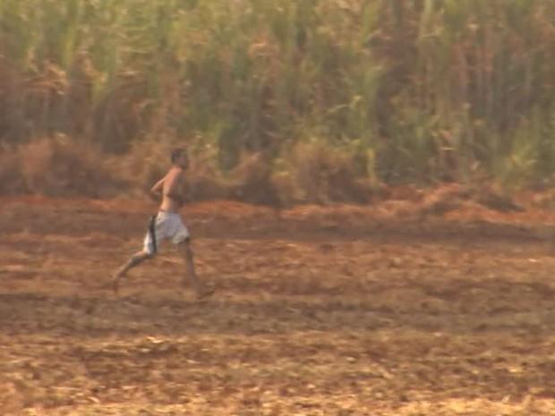 Após escapar do CPP, preso corre pelo canavial em Jardinópolis, SP (Foto: Reprodução/EPTV)