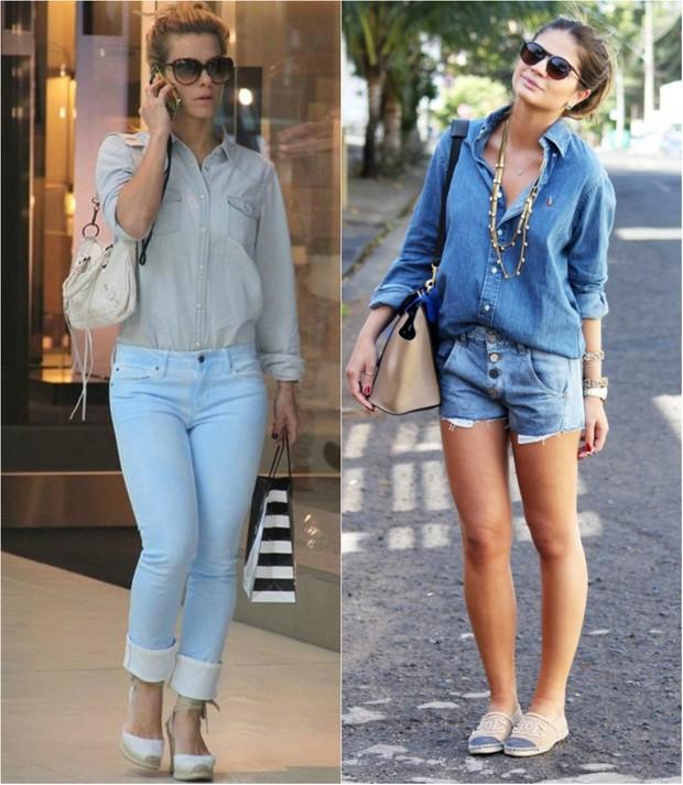 Carolina Dieckmann e Thássia Naves já estão circulando com look todo jeans (Foto: Ag.News/Reprodução do Instagram)