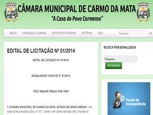 Processo licitatório foi publicado em Portal da Transparência (Foto: Reprodução/Portal da Transparência)