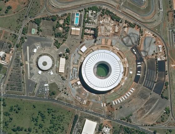 O Estádio Mané Garrincha, em Brasília, é a segunda arena mais importante da Copa. Lá serão disputadas sete partidas, entre fase de grupos (Brasil x Camarões), oitavas, quartas e a disputa do 3º lugar (Foto: Divulgação/Airbus Defence & Space)