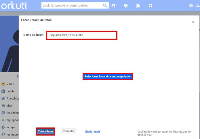 Rede social permite carregar várias fotos ao mesmo tempo (Foto: Reprodução/Orkuti)