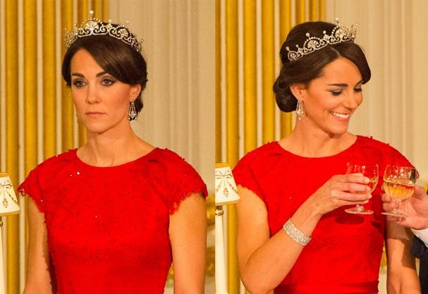 Kate Middleton usou a tiara pela primeira vez em um banquete real. O encontro com o presidente da China aconteceu em outubro de 2015 (Foto: Dominic Lipinski - WPA Pool /Getty Images)