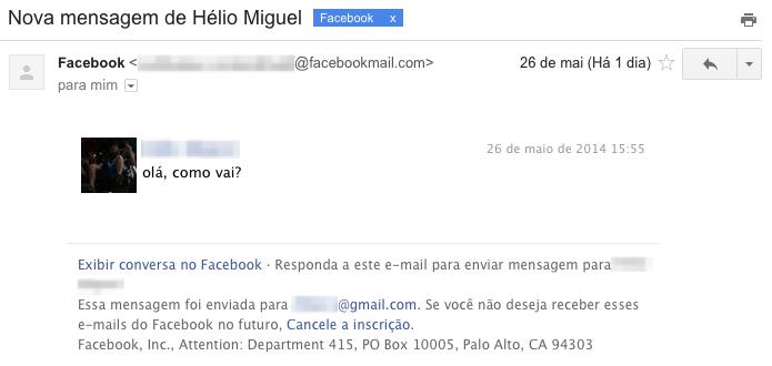 Exemplo de notificação de chat recebida por e-mail (Foto: Reprodução/Helito Bijora)