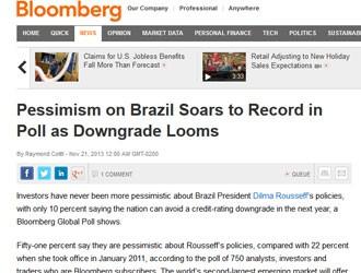 Pesquisa da Bloomberg aponta pessimismo de investidores com o Brasil (Foto: Reprodução)