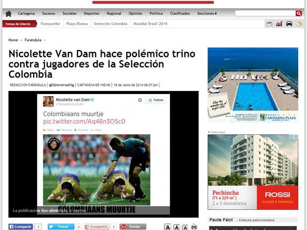 Imprensa colombiana criticou atriz holandesa por piada com jogadores da seleção da Colômbia (Foto: Reprodução)