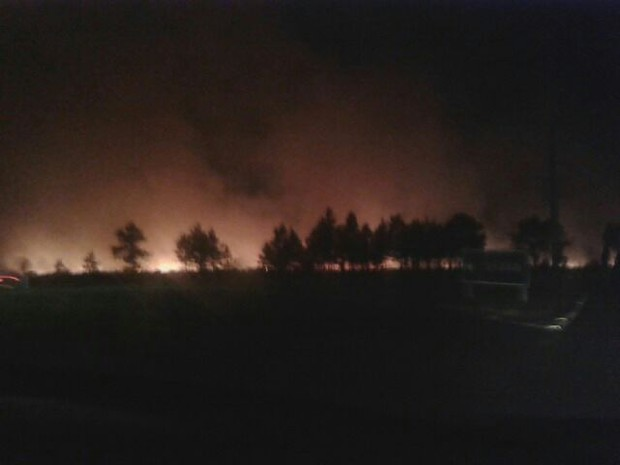 Incêndio em área de vegetação em Capão da Canoa, no RS (Foto: Simone Tavares Nascimento/Divulgação)